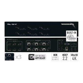 Matrice HDMI 6/in 6/out HDBaseT con 3 Ricevitori XRWRx Cat5e/6 4K - HDCP2.2 - HDR - EDID control - Compass control - Audio Out